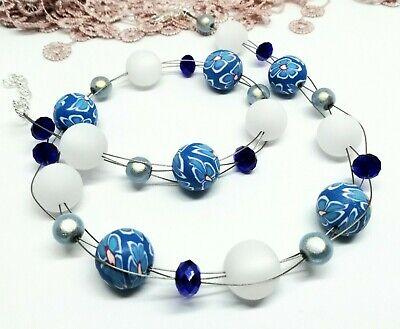 Halskette blau weiß Fimo Polaris Perlen funkelnd Blumen Kette Miracle Blumen ()