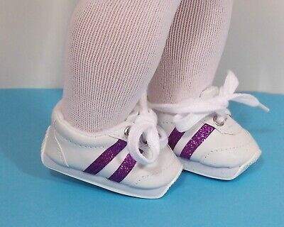 """Debs WHITE /& RED Mini-Sketz Tennis Gym Doll Shoes For 18/"""" American Girl"""