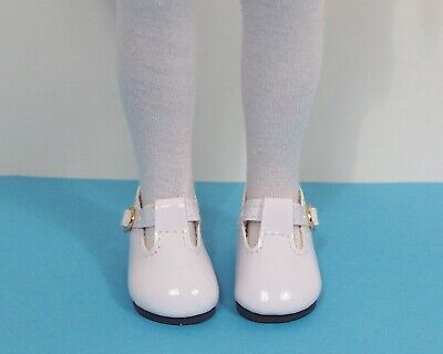 White T-strap Doll Shoes - WHITE Patent T-Strap Doll Shoes For Dianna Effner 13