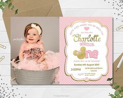 MINNIE MOUSE FIRST 1ST BIRTHDAY CARDSTOCK INVITATIONS INVITE PINK GOLD - Minnie Mouse Photo Invitations