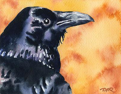 RAVEN Bird Wildlife Watercolor 8 x 10 ART Print Signed by Artist DJR