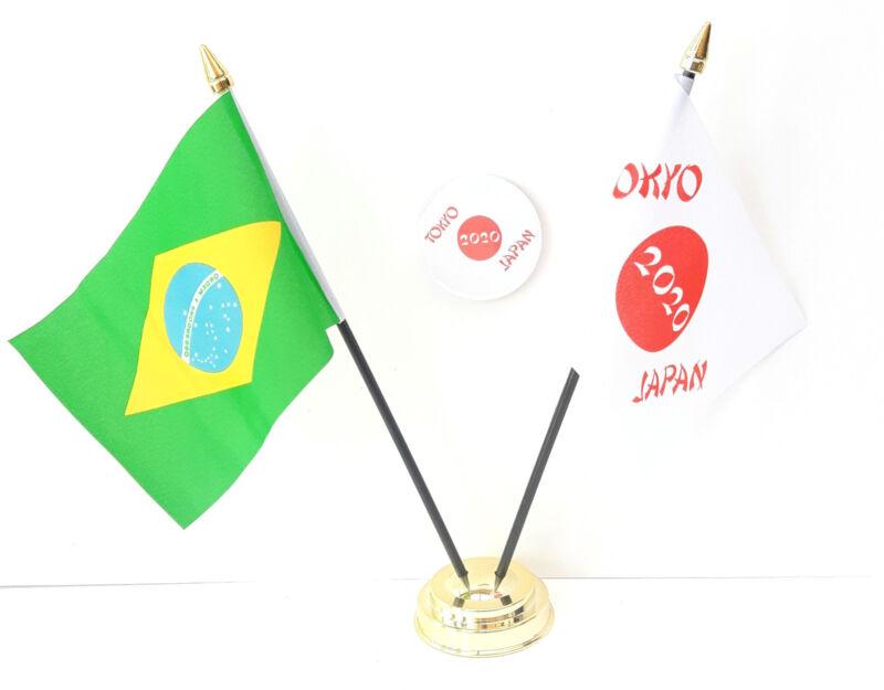 Brazil & Tokyo Japan Olympics 2020 Desk Flags & 59mm BadgeSet