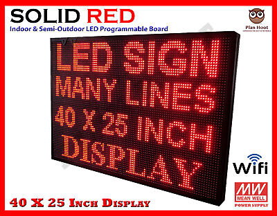 40 X 25 Inch Led Red Color Wifi Indoor Semi-outdoor Programmable Scrolling Sign