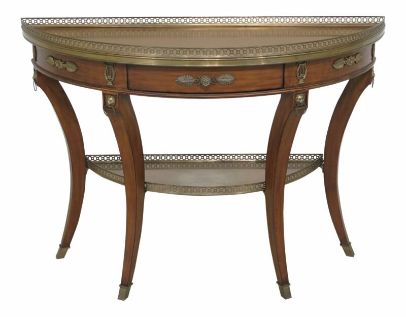 46722EC: DECORATIVE CRAFTS French Style Demilune Shaped Console Table w. Drawer