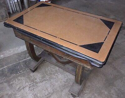 Antique DROP LEAF Table porcelain Enamel Brown Beige Pullout Wood Base Bargain