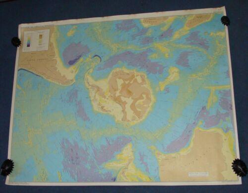 1972 Oceanography Map Antarctic Submarine & Subglacial Topography Bruce C Heezen