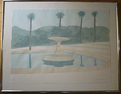 ROBERT WHITE, SIGNED WATERCOLOR, LOS ANGELES FRAMER LABEL, MODERN MOD REALISM