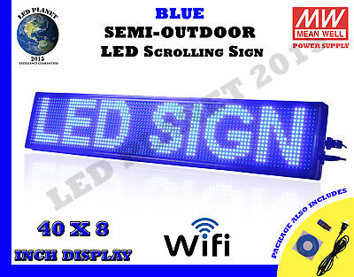 Blue 40x8 Inch Semi Outdoor Led Scrolling Sign Wifi Mobile App Super Fast Ship