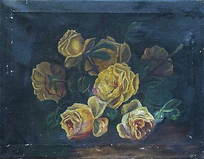 Old Antique Original Victorian Oil Painting Still Life Of Flowers Unframed