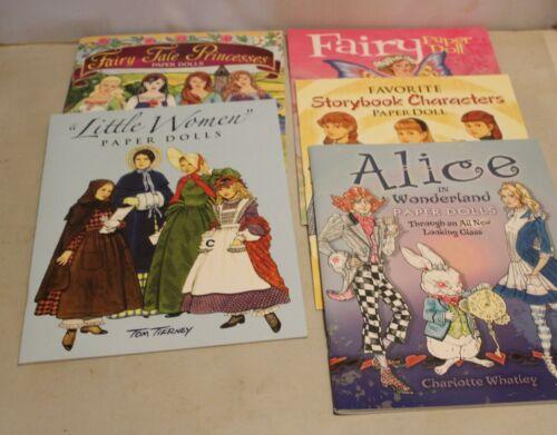 Lot of 5 PAPER DOLLS Books UNCUT Princesses Fairy Alice in Wonderland Storybook