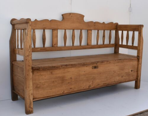 Antique Pine and Oak Box Bench or Settle