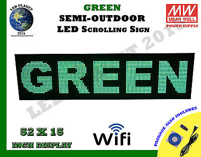 Green 52x15 Inch Semi Outdoor Led Scrolling Programmable Sign Usb Wifi Mobil App
