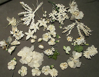Vintage Millinery Flowers - Silk & Satin Flowers in Shades of White