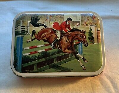 Vintage Equestrian Tin Box Lid Blue Bird Confectionery Limited Edition England