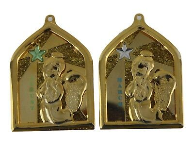 Duchin Christmas Holiday Gold Tone Birthstone Angel Ornaments August March