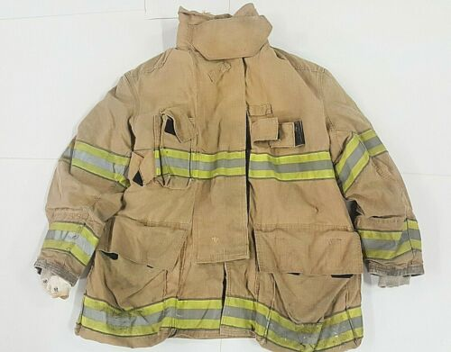 50x35 Globe Firefighter Brown GX-7 Turnout Jacket Coat with Yellow Tape J814