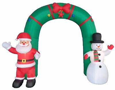10 Foot Tall Christmas LED Inflatable Santa Snowman Star Archway Yard - Christmas Archway Decoration
