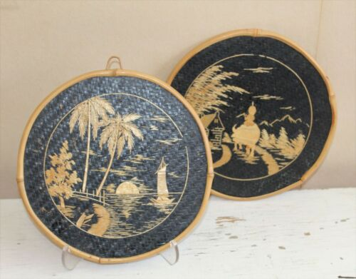 """Pair 1940s Vintage Japanned Wall Art Plaques Bamboo Pacific Island Tourist 9.75"""""""