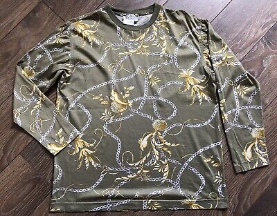 Rare GUCCI VINTAGE 80's Sweater Blouse T Shirt Olive Gold Chains Sailor AUTH L