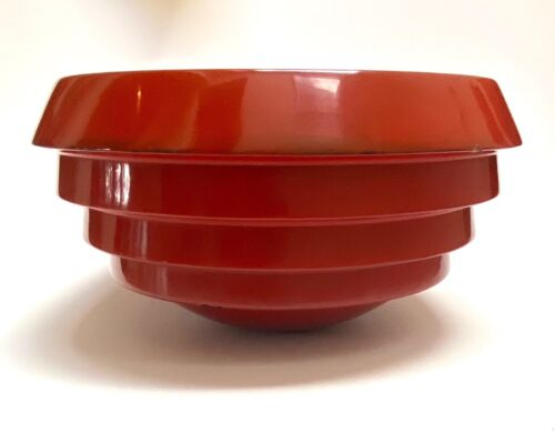 Antique LARGE Art Deco Japanese Negoro? Red Lacquer Lacquerware Rice Bowl 14x7.5