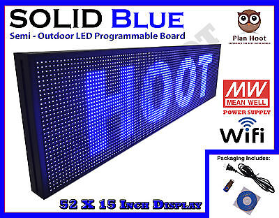 Led Sign 52x15 Blue Colour Semi-outdoor Programmable Scrolling Usb Wifi App