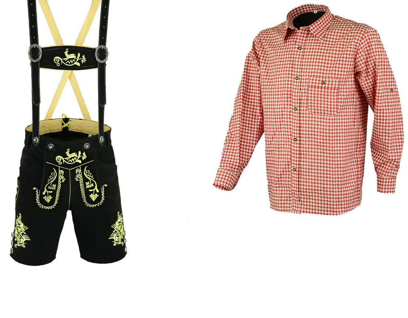 Herren Trachtenlederhose Schwarz Kurz 46 bis 60 Rotes Hemd Trachten Set LE25RH