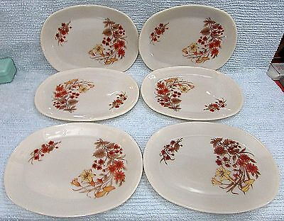 6 JAJ James Jobling Pyrex England Rare 9x12 Ivory Floral Dinner Platters FREE SH