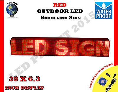 Red - 38x6.3 Led Programmable Scrolling Sign - Outdoor 100 Water Proof