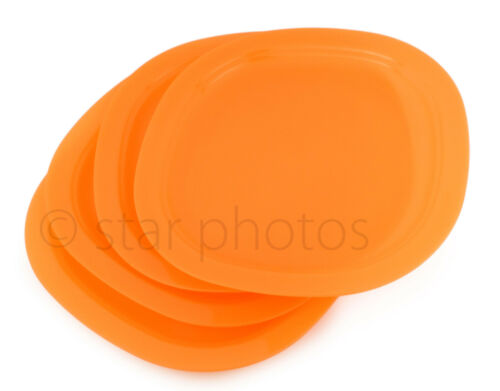 "Tupperware 9.5"" Microwave Reheatable Luncheon Lunch Plates in Orange - Set of 4"