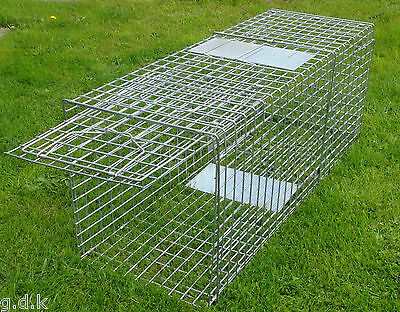 "LARGE FOLDING FOX TRAP,HUMANE TRAP, 47"" INCH, GALVANISED, DOG,PEST CONTROL 47"""