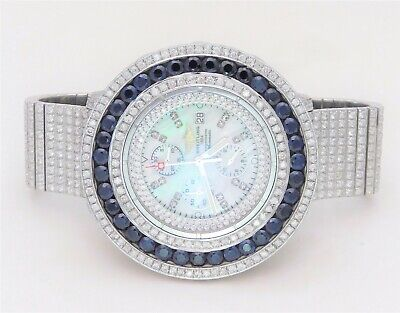 Custom Stainless 45 Carat Diamond and Sapphire Breitling SuperAvenger Wristwatch