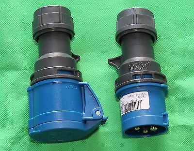 CEE SET Stecker + Kupplung 3polig blau spritzwassergeschützt Wohnwagen Caravan