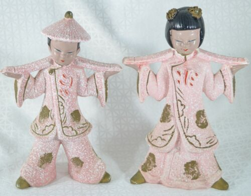 2 Vtg ASIAN FIGURINES Oriental Water Carriers Japan PINK White SPATTER MCM 1950s