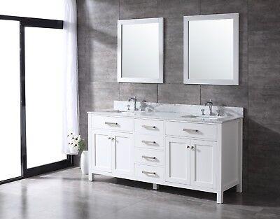 ALL WOOD High-End White, Slate Grey or Espresso Shaker 72-inch Bathroom Vanity