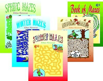 lot 5 books 4 Sessons + Book of Mazes Children Coloring Puzzles for - Kids Maze