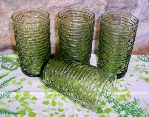 "4 vintage green soreno anchor hocking juice glass tumblers 4"""