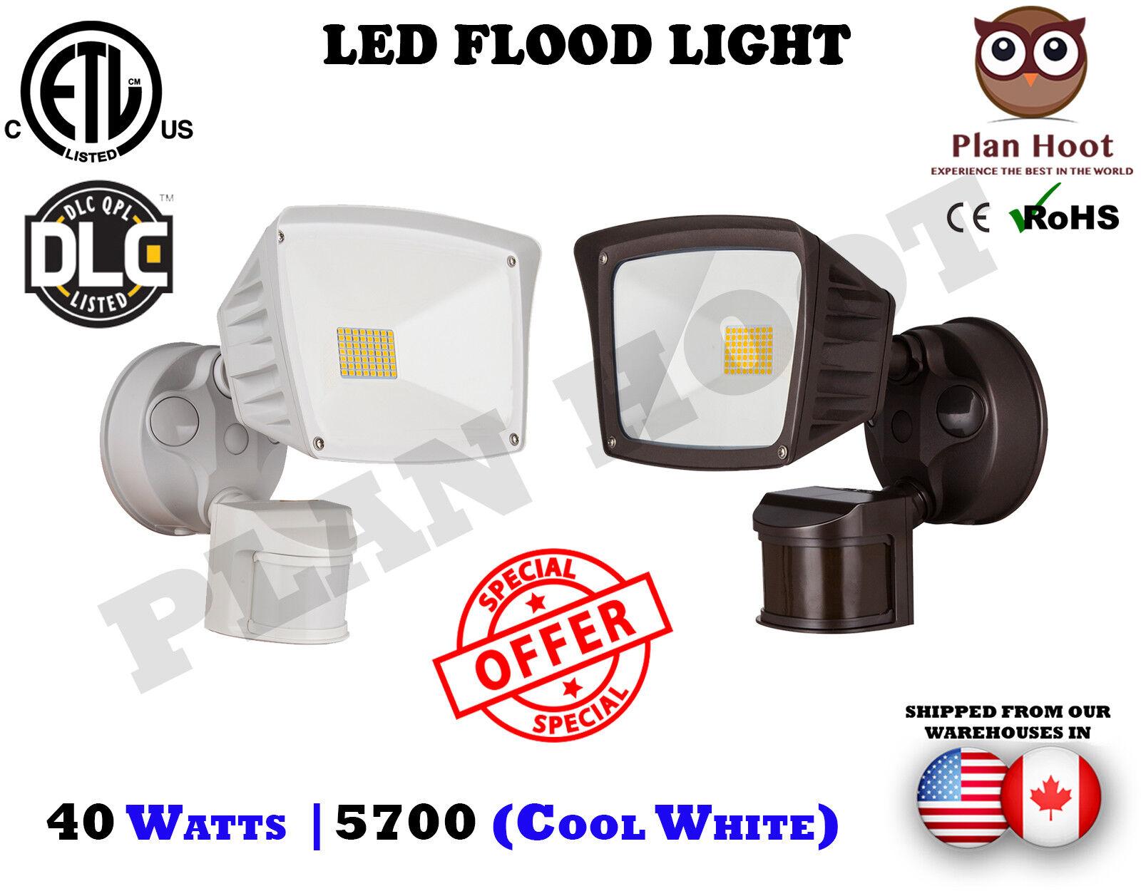 40W ETL DLC LED Motion Sensor Flood Security Light  Wall Gar