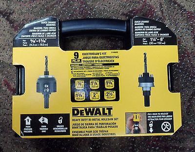 NEW DEWALT D180002 Standard Electricians Bi-Metal Hole Saw Kit 9 Piece