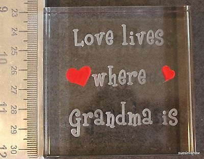 New Frosted Glass Crystal Block Sayings Plaque Etched Gift Boxed