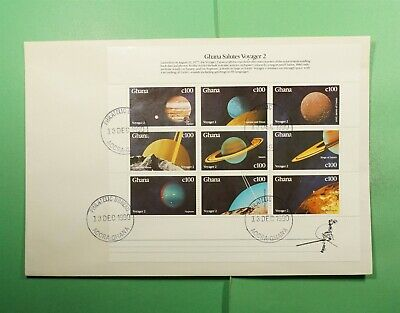DR WHO 1990 GHANA FDC SPACE VOYAGER 2 S/S SHEET  Lg15799