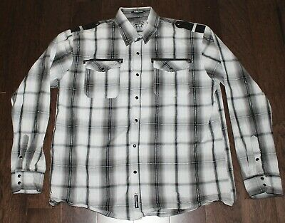 SOUTHPOLE Black Pearl Snap Plaid Check Dress Shirt Men's 4XL Gray White Epaulet