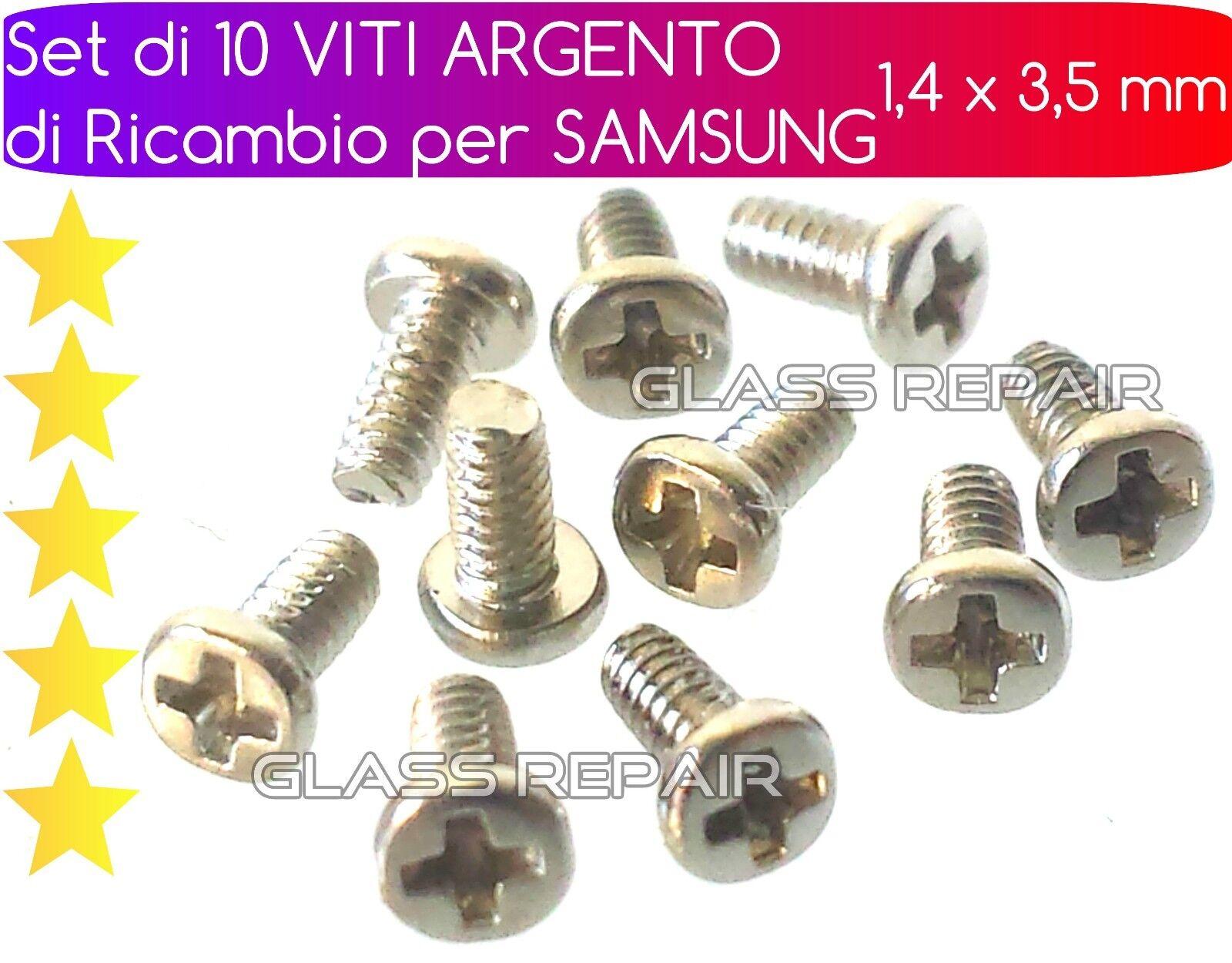 x 10 PEZZI KIT SET di VITI ARGENTO di RICAMBIO  per RIPARAZIONE SAMSUNG GALAXY