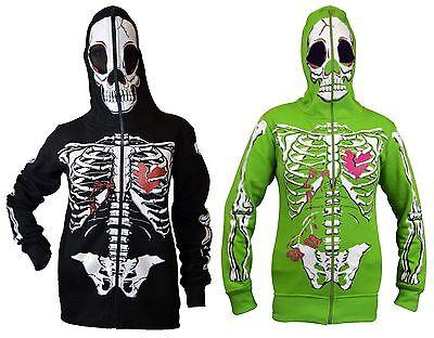 Halloween Skeleton Sweatshirt (Womens Full Face Mask Skeleton Skull Hoodie Sweatshirt Halloween Costume)