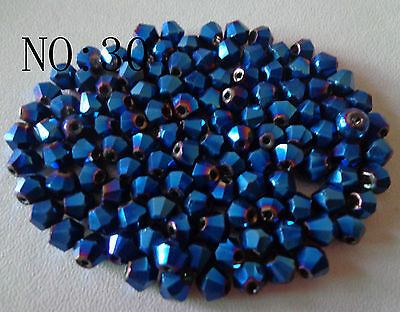 100pcs 4mm 5301# Bicone Faceted Glass Crystal Loose Spacer Beads Dark blue AB