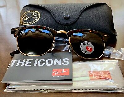 RAY BAN 3016 Clubmaster Tortoise Frame 990/58 POLARIZED Lens 51MM,FINAL SALE⭐️