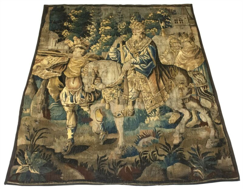 LATE 16th CENTURY LARGE FLEMISH TAPESTRY FRAGMENT ANTIQUE 6 x 8