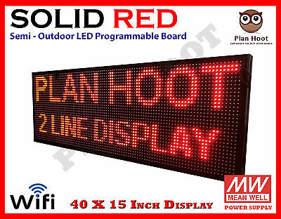 40x15 Led Red Color Wifi Usb Semi-outdoor Indoor Programmable Scrolling Sign
