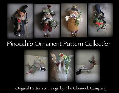 **EMAIL PDF VERSION** Heirloom Christmas Ornament PATTERNS - Pinocchio - All 7 ()
