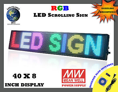 40x8 Semi Outdoor Wifi App Led Scrolling Programmable Sign - Rgb Display
