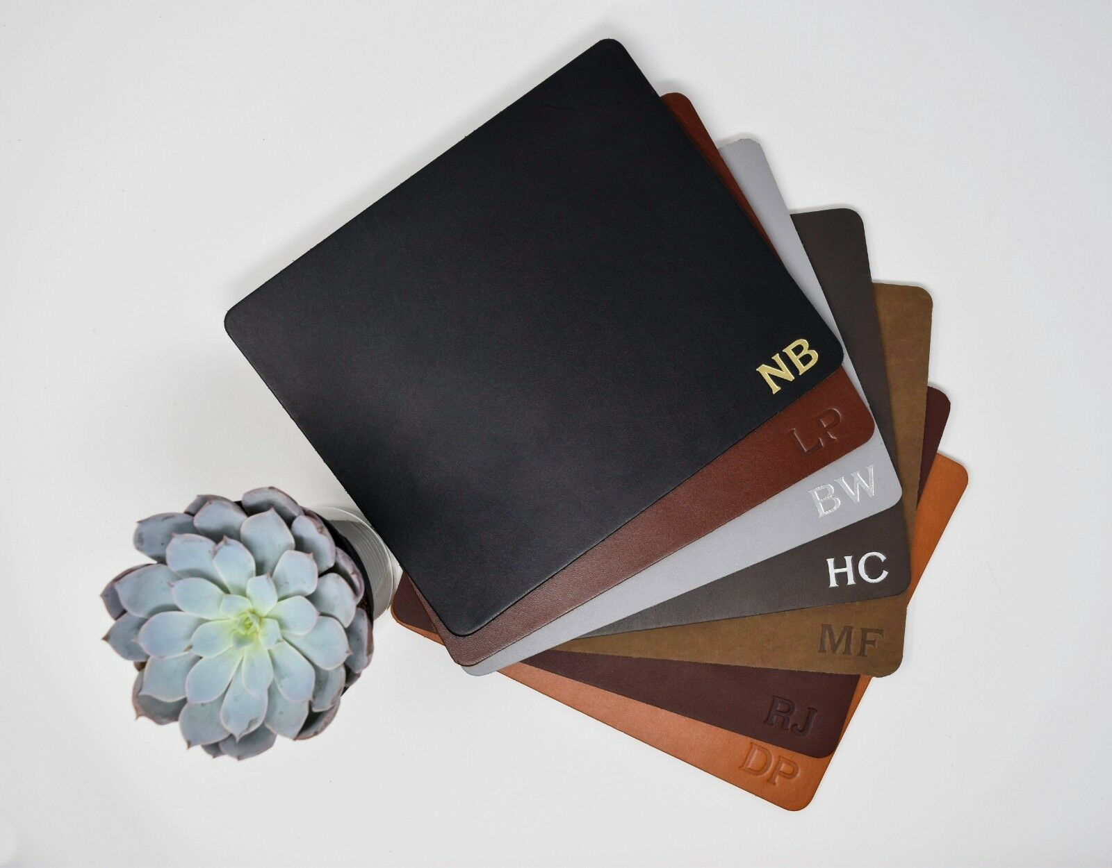 Personalized Leather Mousepad. Monogrammed Leather Mousepad. USA Made.